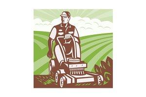 Gardener Landscaper Riding Lawn