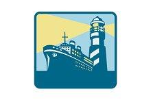 Passenger Ship Cargo Boat Lighthouse