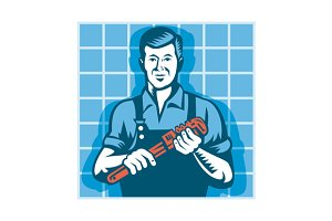 Plumber Worker With Monkey Wrench
