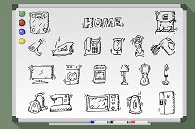 Appliances on white board. Vectr