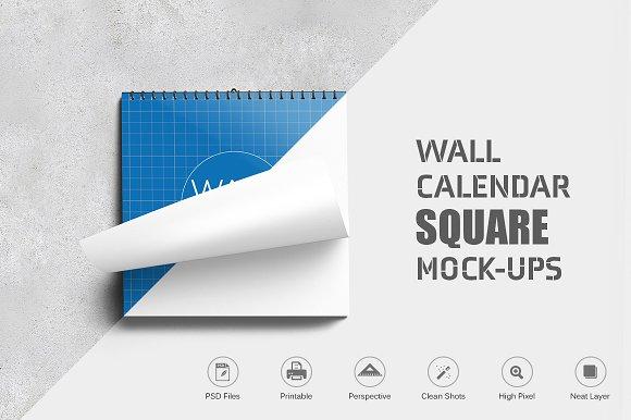 Wall Calendar Square Mock-Ups