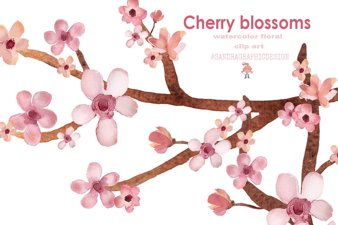 Cherry blossom clipart Photos, Graphics, Fonts, Themes, Templates ...