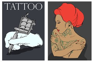 Tattooed girl. Tattoo machine. Vctr