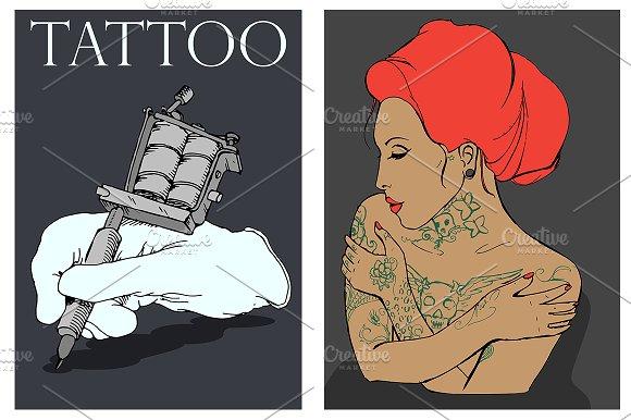 Tattooed girl. Tattoo machine. Vctr - Illustrations