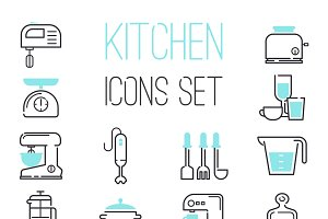 Kitchen icons vector illustration