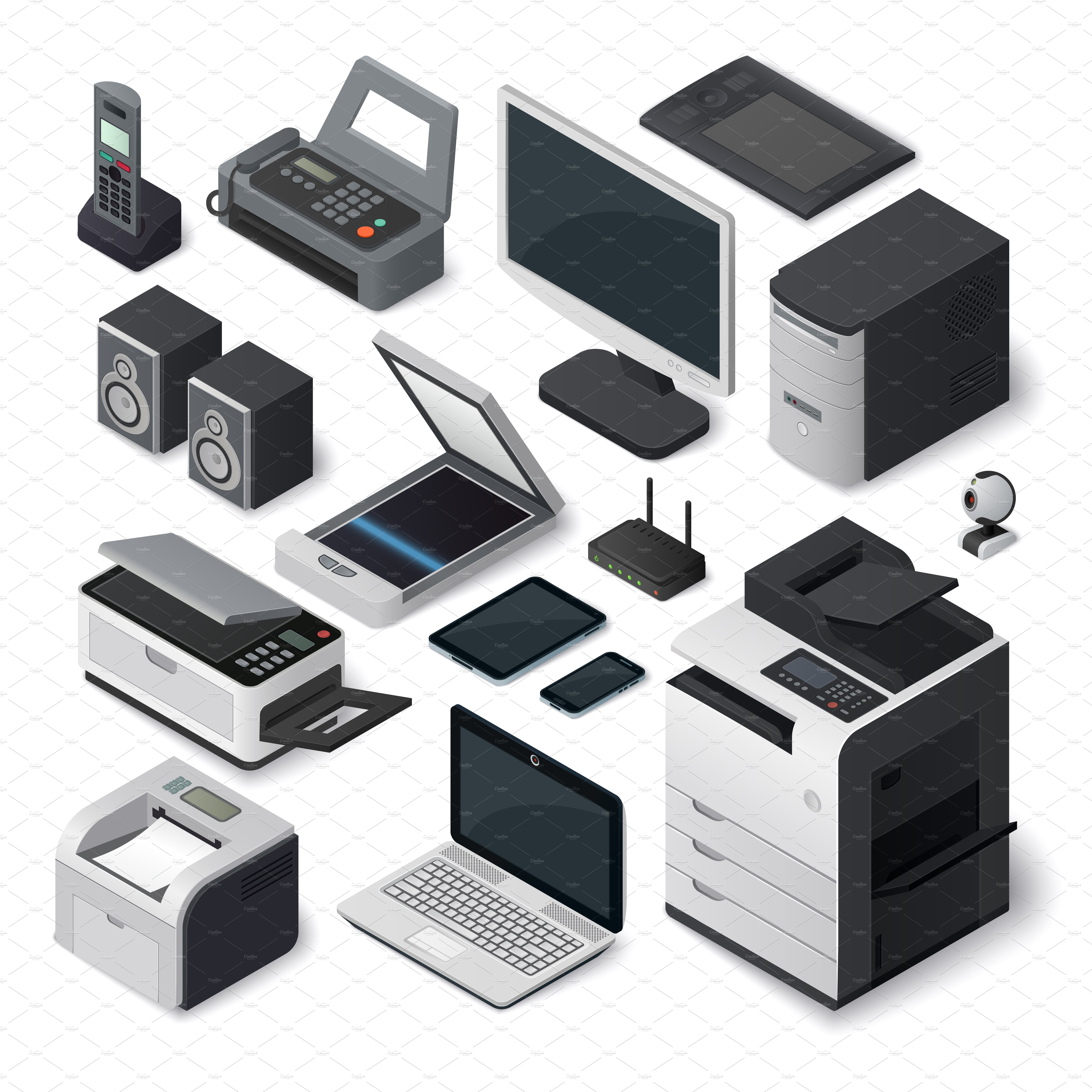 isometric office equipment vector illustrations creative market. Black Bedroom Furniture Sets. Home Design Ideas