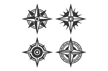 Wind Rose or Compass Icon Set