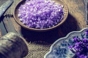 Bowl of lavender bath salt