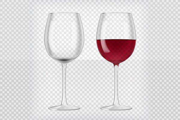 Transparent Realistic Wine Glasses