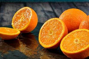 Oranges  citric cut into halves