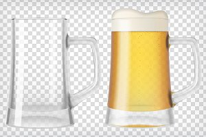Transparent Realistic Beer Mugs
