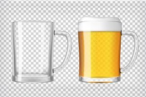 Transparent Realistic Beer Glasses