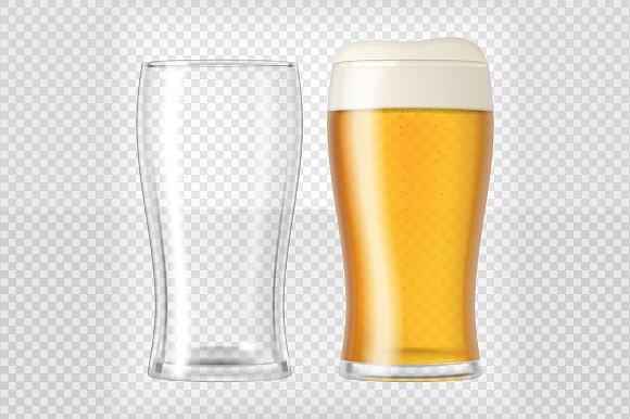 Transparent Realistic Beer Glasses