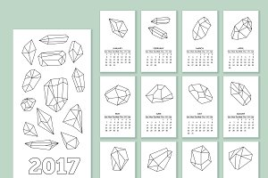 Monthly wall calendar for year 2017