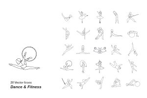 Dance & Fitness outlines vector icon