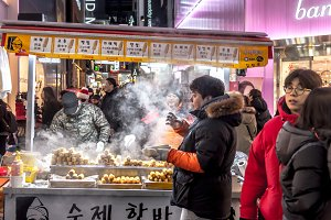 Street food with people  South Korea