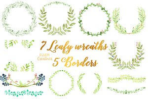 Watercolor Laurel Foliage Wreaths