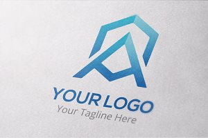Letter A Hexagonal Logo Template
