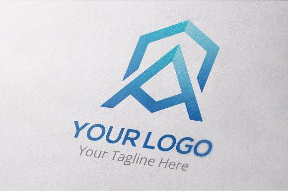 Letter A Hexagonal Logo Template