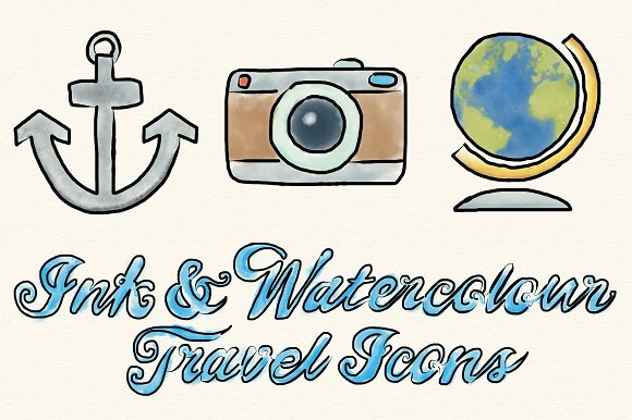 Ink and Watercolor Travel Icons - Icons
