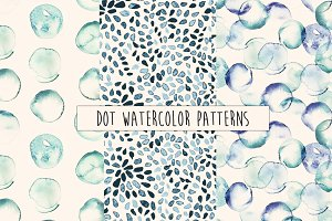 Dot Watercolor Seamless Patterns
