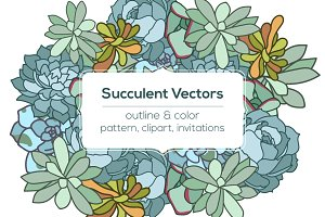 Succulent vector pattern & invite