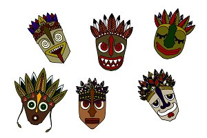 Set of African Ethnic Tribal masks.