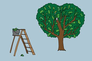 Money tree and ladder with money.