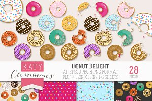 Donut Delight clip art illustrations