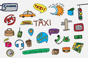 Taxi transportation set. Doodle icon