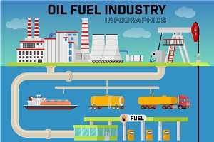 Oil fuel industry infographic