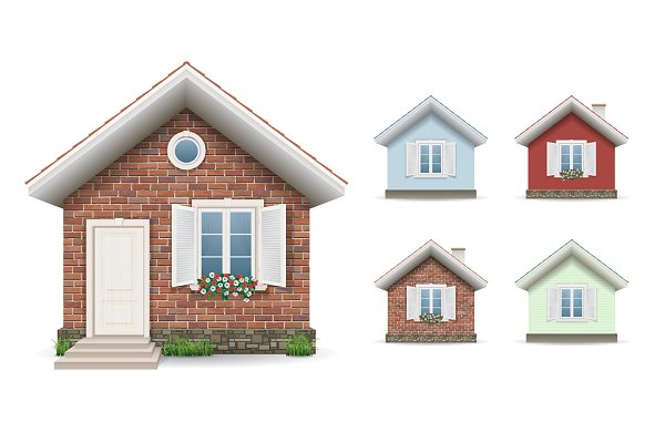 Set small building facades