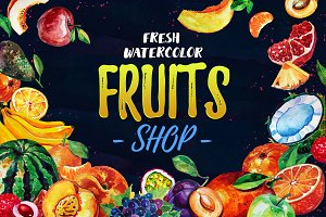 Fresh Watercolor Fruits Shop