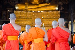 Monks in Thai Buddhism temple