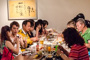 Chinese people in dinner time