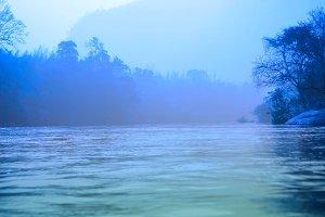 fog river landscape