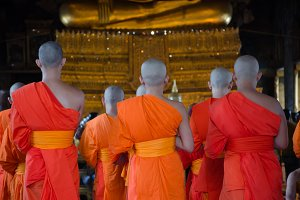 Monks in Buddhism temple in Thailand