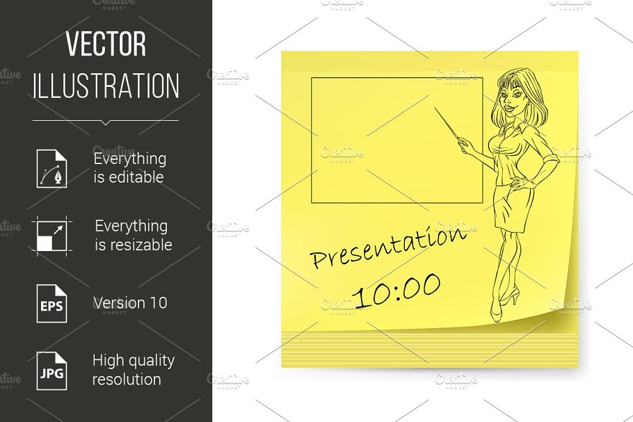 Yellow sticker with business woman in Graphics - product preview 8