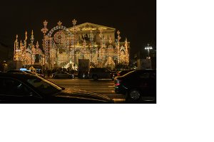 festive illumination at the Bolshoi Theater in Moscow
