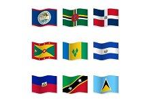 Waving  National Flags. Set-10