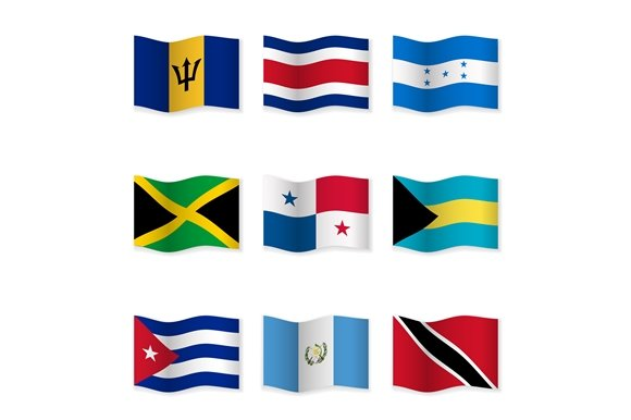 Waving National Flags. Set-9 - Objects