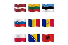 Waving  National Flags. Set-8