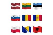 Waving  National Flags. Set-8