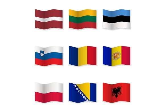 Waving National Flags. Set-8 - Objects