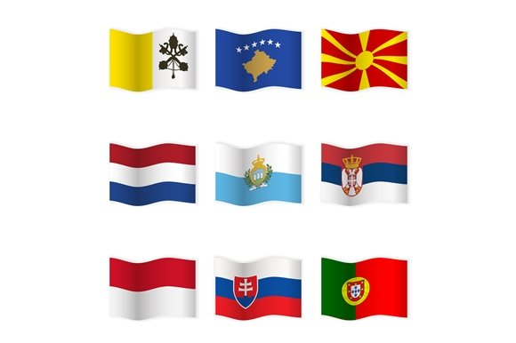 Waving National Flags. Set-7 - Objects