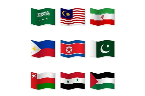 Waving National Flags. Set-5 - Objects
