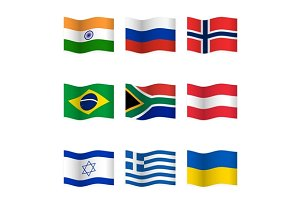Waving  National Flags. Set-2