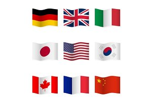 Waving  National Flags. Set-1