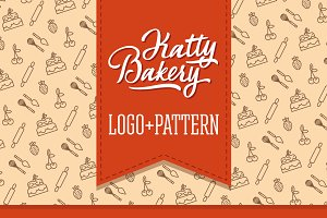 Katty Bakery pattern+logo