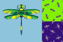 Dragonfly. Seamless pattern.